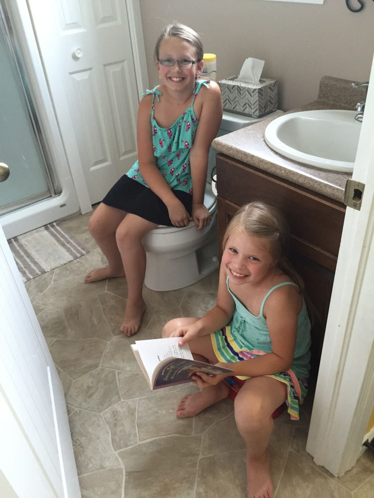 Reading in the bathroom