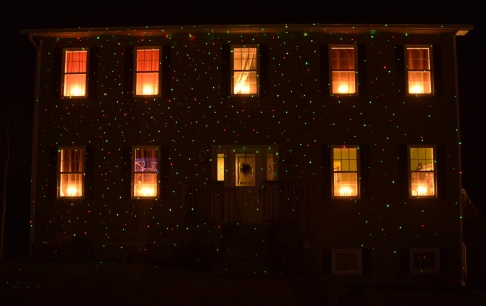 Decorated house at night